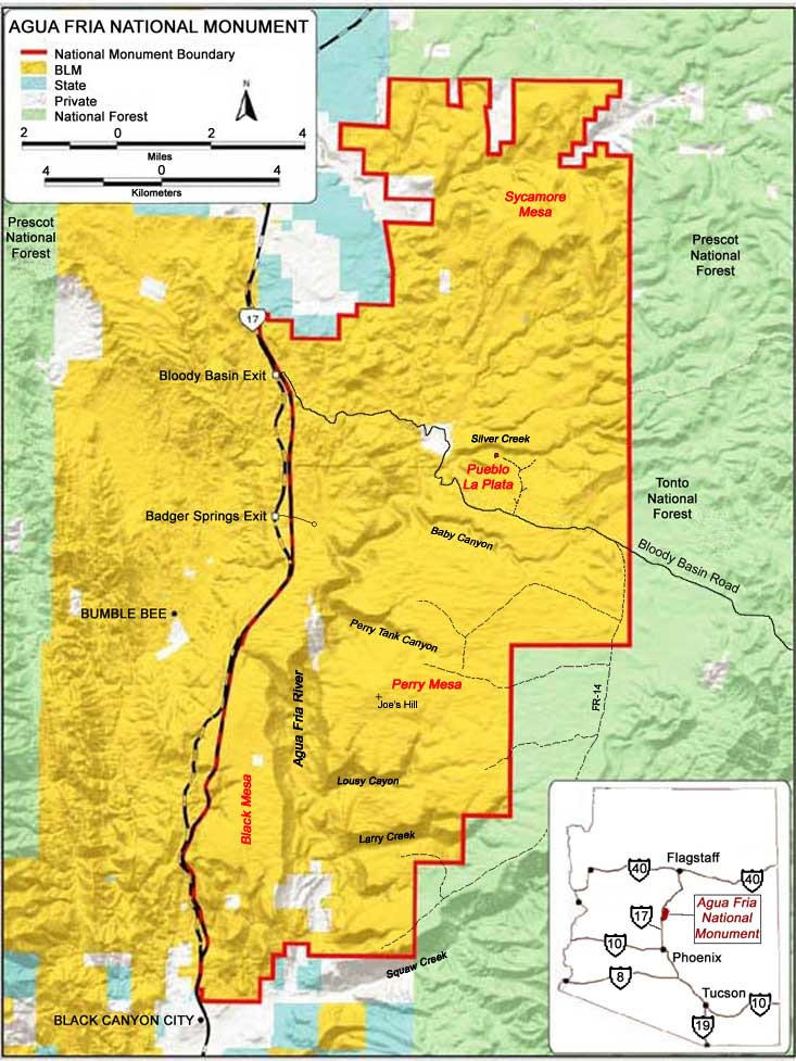 Map Of Arizona Indian Ruins.Aqua Fria National Monument